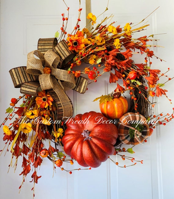 Fall Door Wreath, Pumpkin Wreath, Autumn Wreath, Fall Front Door Wreath