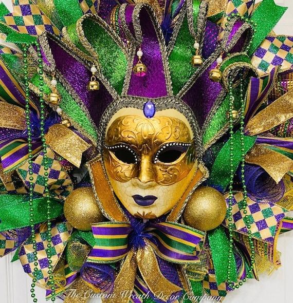 Mardi Gras Wreath, Mardi Gras Deco Mesh Wreath, Fat Tuesday Wreath, Jester Mask Wreath