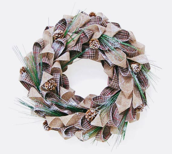 "14"" Rustic Burlap Wreath, Burlap Pine Cone Wreath, Burlap Plaid Ribbon Wreath"
