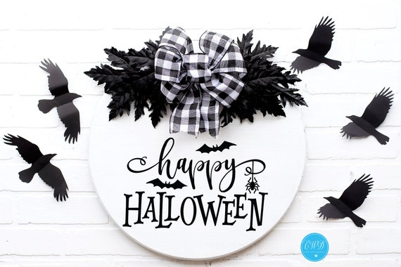 Round Halloween Sign, Wood Round Halloween Sign, Happy Halloween Round Sign