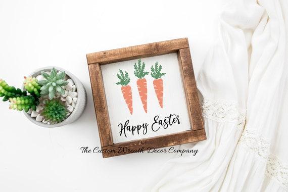 Happy Easter Sign, Carrot Sign, Easter Shelf Sitter