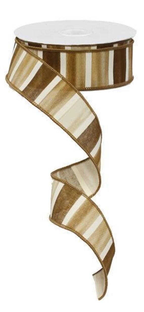 """1.5"""" Brown Watercolor Ribbon RG0143804, Brown White Ribbon RG0143804, Brown White Fall Ribbon RG0143804"""