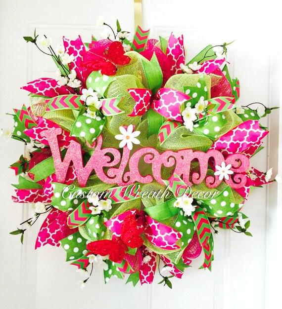 Welcome Wreath, Pink Green Welcome Wreath, Summer Deco Mesh Wreath, Summer Door Decor, Fuchsia Lime Wreath, Housewarming Gift