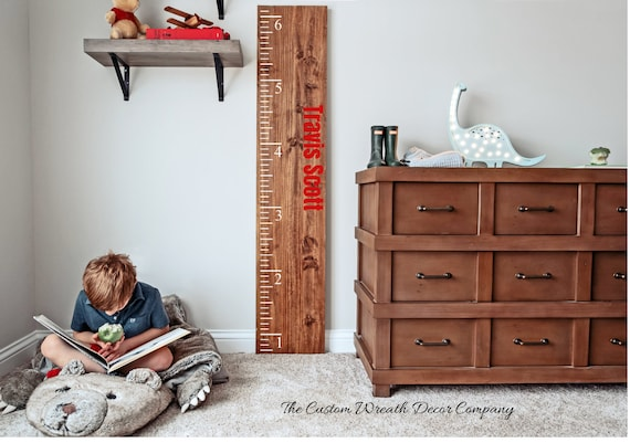 Personalized Wood Growth Chart Ruler, Kids Growth Ruler