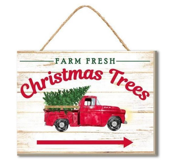 """6.5"""" Red Truck Sign AP8222, Wooden Farm Fresh Christmas Trees Truck Sign"""
