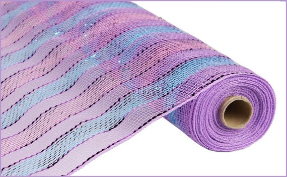 Free Shipping 21 inch deco mesh Turquoise blue and lavender purple 10 yards mesh