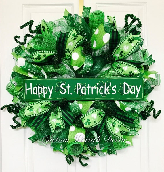 St. Patrick's Day Wreath, Saint Patrick's Day Wreath, Irish Wreath, St. Patrick's Day Deco Mesh Wreath, Clover Wreath