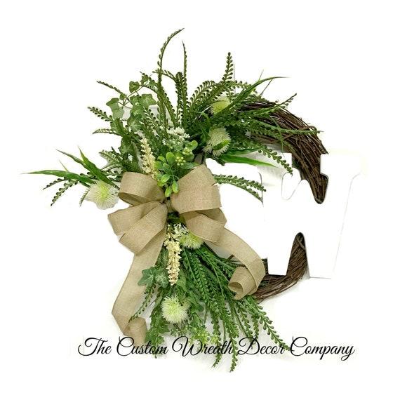 Floral Greenery Wreath, Monogram Greenery Wreath