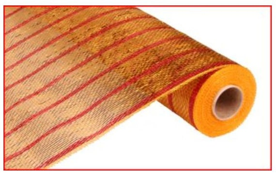 "21"" Gold Red Stripe Deco Mesh, Gold Red Stripe Mesh, Gold Red Stripe Deco Poly Mesh (10 Yards) - RE1033G6"