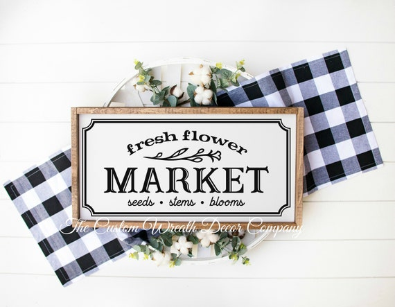 "24"" x 12"" Fresh Flower Market Rustic Sign, Fresh Flower Market Farmhouse Sign, Flower Market Sign, Flower Market Seeds Stems Blooms Sign"