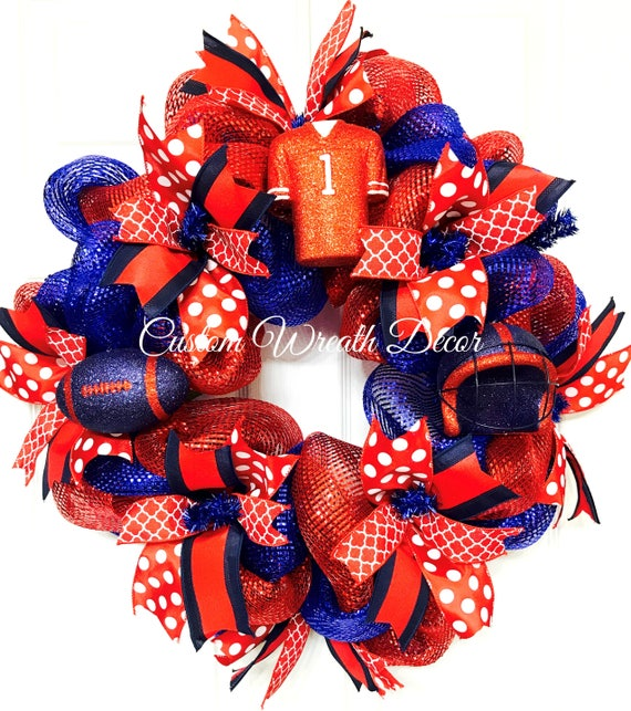 Red Blue Football Wreath, Ole Miss Wreath, Red Blue Mesh Wreath