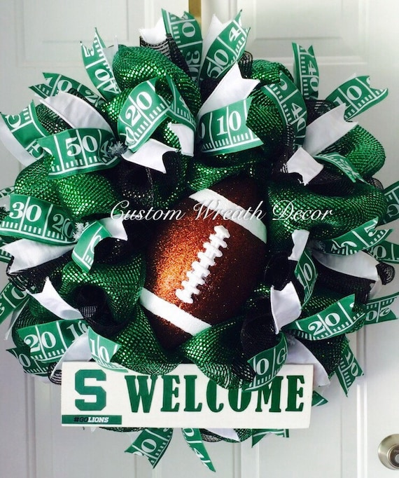 Green Football Wreath, Philadelphia Eagles Wreath, College Football Wreath, Spartans Wreath, Green High School Wreath