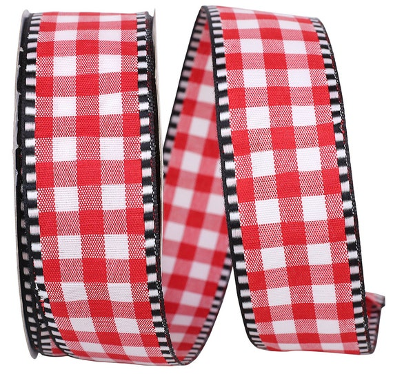 "1.5"" Red Black White Gingham Ribbon, Red White Black Ticking Gingham Ribbon, Valentine Ribbon"