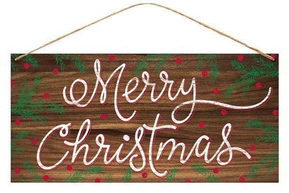 """12"""" x 6"""" Merry Christmas Sign MD0393, Brown Red Green Merry Christmas Sign"""