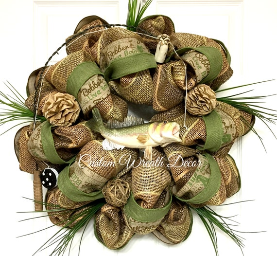 Fish Wreath, Fishing Wreath, Father's Day Gift, Gifts for Dad, Man Cave Gift,  Man Wreath, Fishermen Wreath