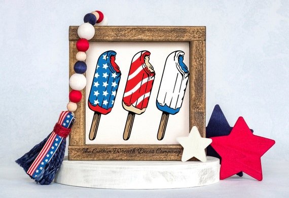 Rustic Patriotic Sign, USA Shelf Sitter, Bomb Pop Shelf Sitter, RWB Shelf Sitter