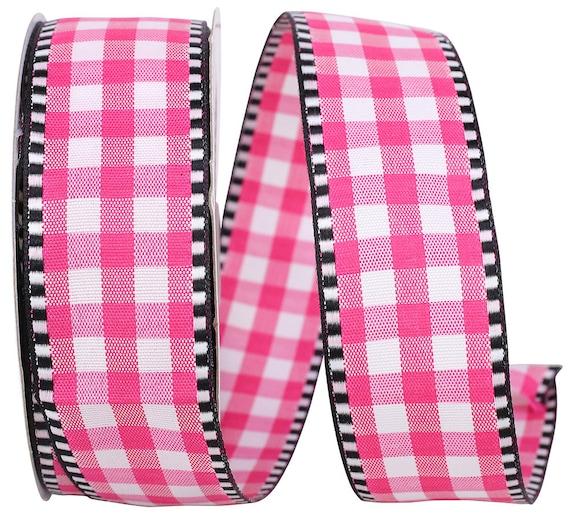 """1.5"""" Pink Black White Gingham Ribbon, Pink White Black Ticking Gingham Ribbon, Valentine Ribbon"""