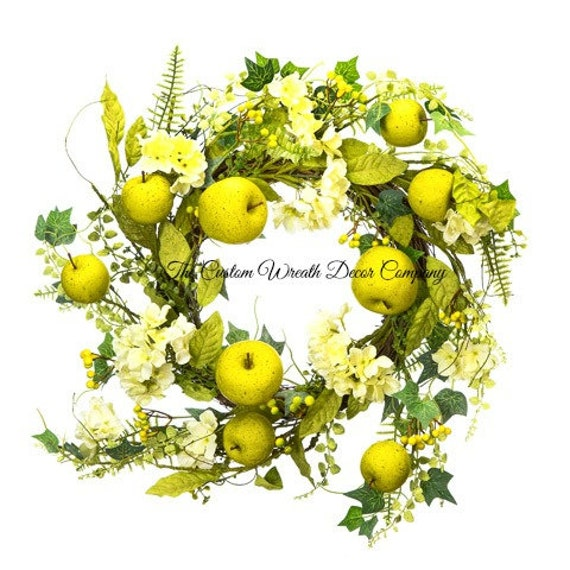 Green Apple Wreath, Green Apple Greenery Wreath, Summer Apple Wreath