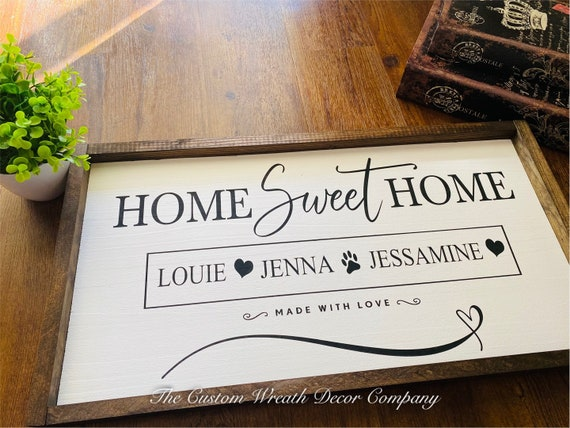 Personalized Home Sweet Home Sign, Rustic Home Sweet Home Sign, Farmhouse Home Sweet Home Sign