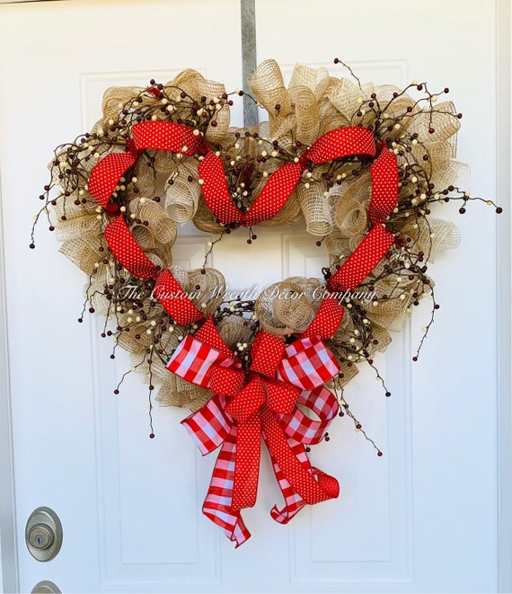 Valentine Heart Wreath, Valentine Decor, Burlap Heart Wreath