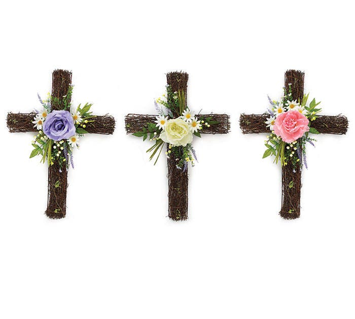 25 Rustic Grapevine Cross Easter Twig Floral