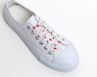 e637c6ee3322 Shoelaces -Cherries - Red on White - Wedding Shoe Laces - Cotton 2nd  anniversary gift - Shoelace Swap - Cherry - Shoe Strings - Cute Fruit