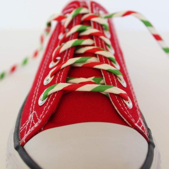 Shoelaces For Christmas.Candy Cane Shoelaces Why Not Make A Festive Fashion Statement With These Elf Stripe Shoestrings