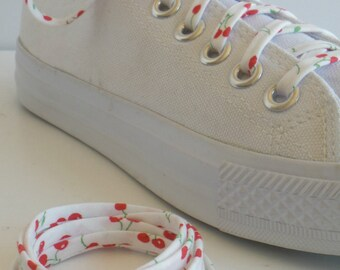Shoelaces -Cherries - Red on White - Wedding Shoe Laces - 2nd anniversary gift  - Groomsmen - Shoelace Swap - Cherry - Shoe - Lace