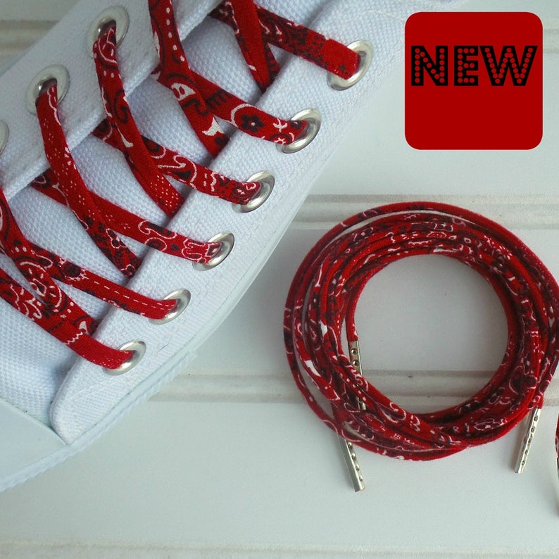 5486da3f5b26 Shoelaces Red Bandana Shoe Laces Shoestrings High and