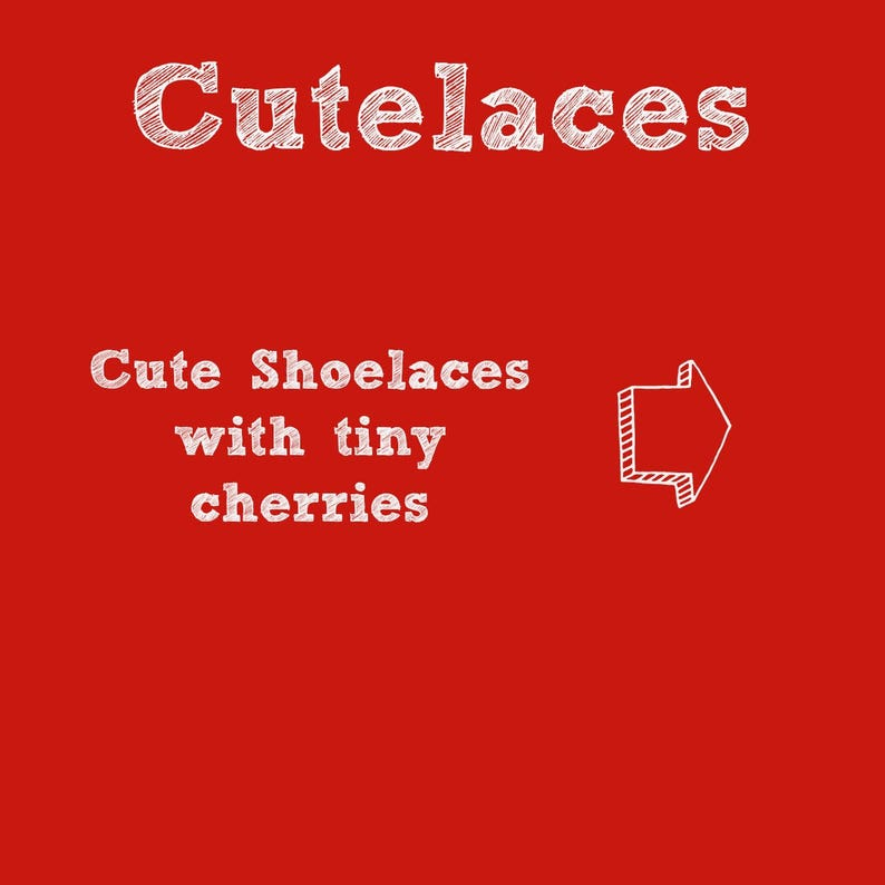 Cherry Cute Fruit Red on White Wedding Shoe Laces Shoelace Swap Cotton 2nd anniversary gift Shoelaces -Cherries Shoe Strings
