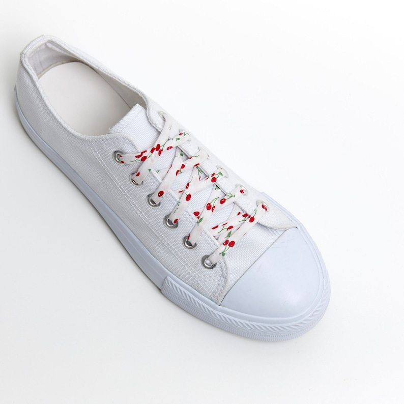 ac8e42a020d9d Shoelaces -Cherries - Red on White - Wedding Shoe Laces - Cotton 2nd  anniversary gift - Shoelace Swap - Cherry - Shoe Strings - Cute Fruit