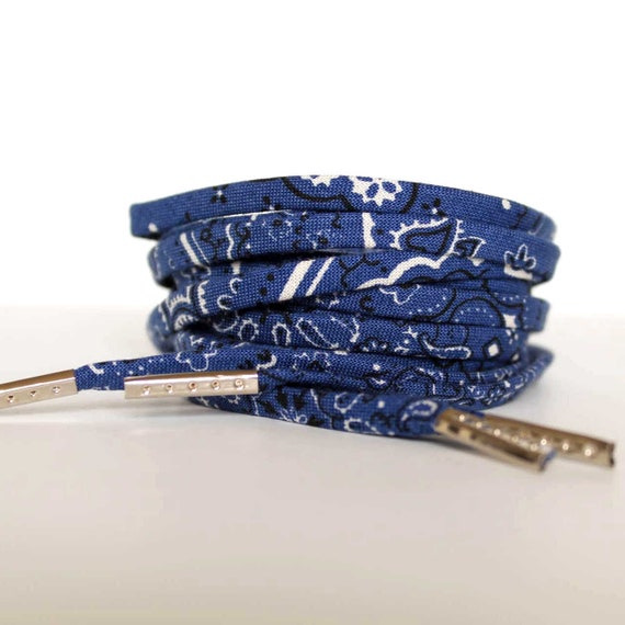 factory outlets promo codes arriving Shoelaces with Blue Bandana Print Shoe Laces Shoestrings | Etsy