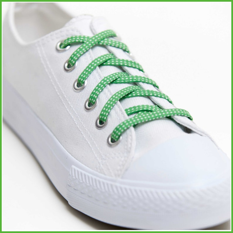 5a1fd41f5f91 Shoelaces Green Polka Dots Shoe Laces Great on Converse
