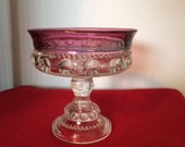 SALE Vintage carnival glass. Indiana kings crown thumbprint pedestal candy dish