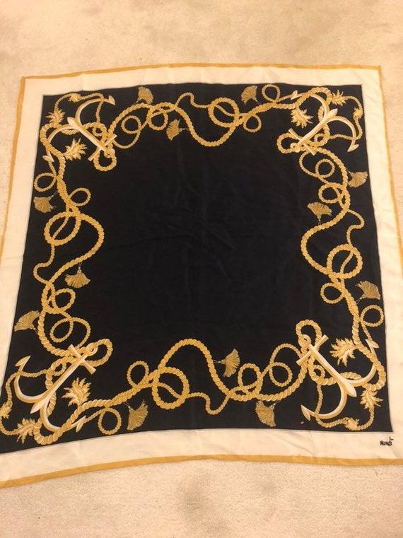 Mondi- Black- Gold and Ivory Nautical Print Silk S
