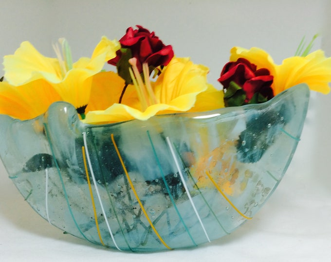 VASE Pot Pouria or for Floating Flowers, Art Glass, Kiln Formed and Slumped