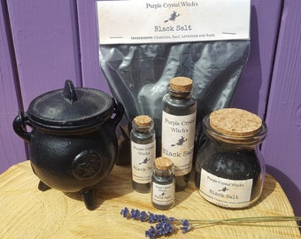 Witches Black Salt, Portable Protection, Spiritual Cleansing, Witchcraft Spells, Occult Supplies, Witch Purification, Sage Lavender Magick