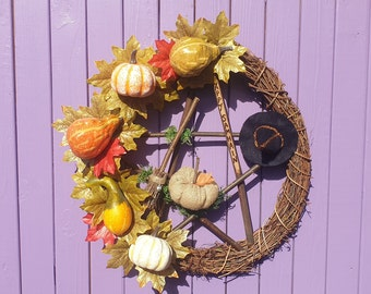 Halloween Wreath, Samhain Decoration, Spooky Door Hanger, Wiccan Wall Hanging, Miniature Broomstick, Black Felt Witch Hat, Witches Besom