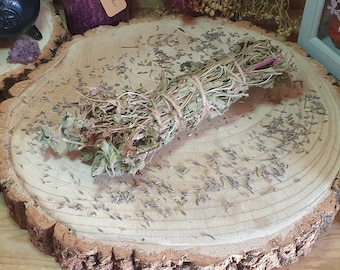 Lavender Herb Bundle, Spearmint Smudging, Home Cleansing Stick, Herbal Smoke Wand, Pagan Smudge Altar, Floral House Incense, Spiritual