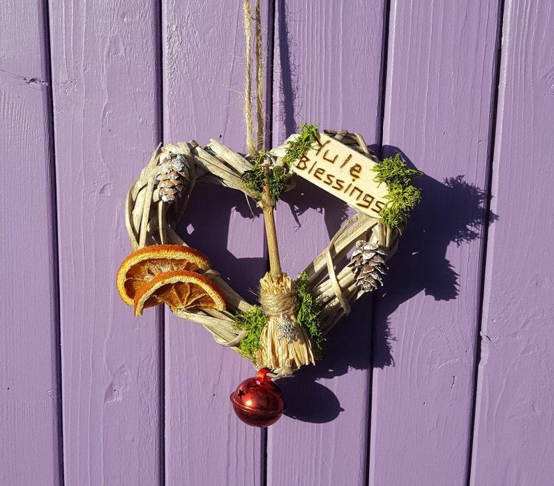 Heart Yule Wreath, Yuletide Decoration, Festive Door Hanger, Xmas Wall  Hanging, Wiccan Besom Broom, Miniature Broomstick, Dried Oranges