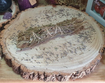 Thyme Herbal Stick, Sage Cleansing Wand, Dried Herb Bundle, Pagan Home Smudging, Wiccan House Smudge, Floral Smoke Incense, Witchcraft Gift