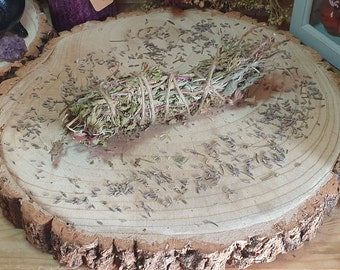 Dried Chocolate Mint, Mint Smudge Stick, Lavender Herb Bundle, Herbal Smoke Wand, Spiritual Cleansing, Wiccan Incense, Pagan Altar