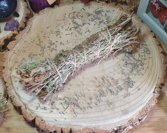 Pagan Mint Herbs, Dried Lavender Stick, Home Cleansing Stick, Witches Flower Wand, Witch Altar Smudging, Magic Smudge Bundle, Witchcraft