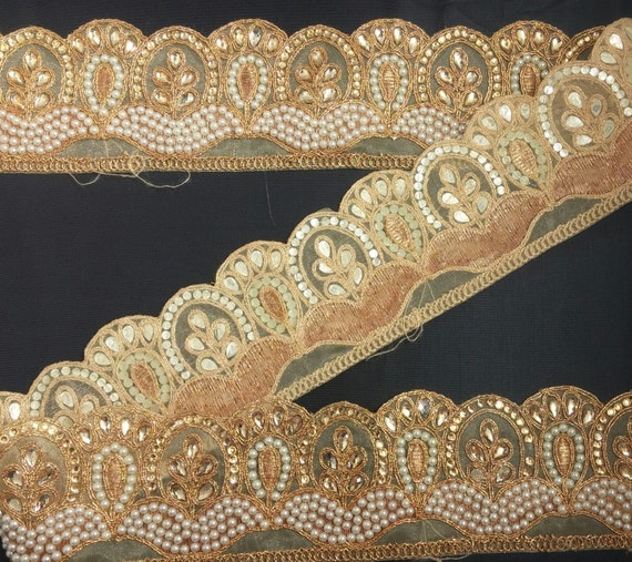 Fancy Beaded Bridal Lace Trim Ribbon Sewing Craft Wedding Saree Border by 1 Yard