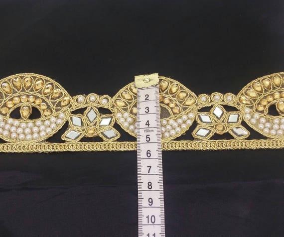 Fancy Indian Border Cut work Gold Bridal Lace Trim Ribbon Sewing Craft by 1 Yard