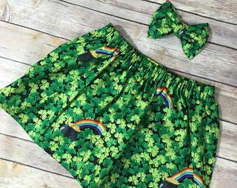 St Patrick's day skirt and bow set