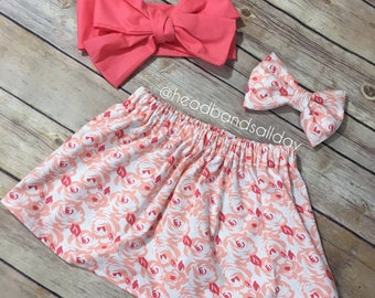 Floral skirt and bow set