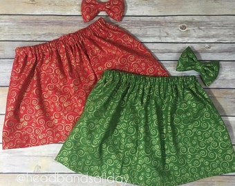 Holiday swirl skirt with bow set