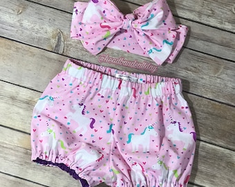 Unicorn bubble shorts with headwrap