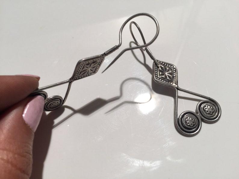 Vintage Kazakh Earring-Afghani Earring-silver Vintage Style Earring-handmade,Carnelian Earrings.Vintage Tribal earring-Kochi Jewelry.....